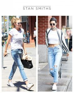 Kendall and Gigi both clearly love their Adidas Stan Smiths but the two models style them very differently to fit their personal style and tastes