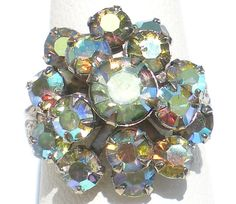 Rhinestone Statement Ring with Cluster of Aurora by RibbonsEdge
