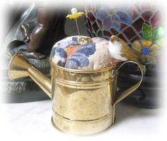 Handmade Pincushion Garden Brass WATERING CAN by CharlotteStyle, $12.50