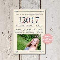 High School Graduation Party Invitation, High School Graduation Announcement, Class of 2017 Senior Announcement College Graduation Printable by ShadesOfGrace1 on Etsy