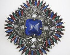 Designer Larry Vrba Necklace Signed Castlecliff Aztec Necklace Vintage Costume Jewelry