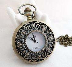 1pcs Large Size Pocket Watch with Filigree Flower   by ministore, $4.90