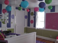 """'Purple Stripes' collection - photo 2 - """"Two of the paper lanterns were wired for over head light."""" - debiskolas #kidsdecor #kidsrooms #girlsrooms"""