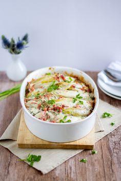 Chicoree Kartoffel Auflauf mit Lachsschinken und Käse // Chicory Potatoe Casserole with Ham and Cheese