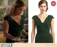 Julia's green pleated v-neck dress on Parenthood. Outfit Details: http://wornontv.net/19633 #Parenthood #NBC