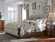 Cotswald Queen Uph Sleigh Bed - Art Van Furniture Come see me! Bedroom Art Above Bed, King Bedroom Sets, Bedding Master Bedroom, Bedroom Green, Luxury Bedroom Furniture, Contemporary Bedroom Furniture, Painted Bedroom Furniture, Modern Bedroom, Furniture Mattress