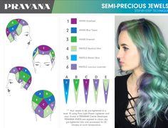 Colored Hair Tips, Coloured Hair, Hair Color Placement, Pravana Hair Color, Opal Hair, Hair Color Formulas, Hair Color Techniques, Fantasy Hair, Unicorn Hair