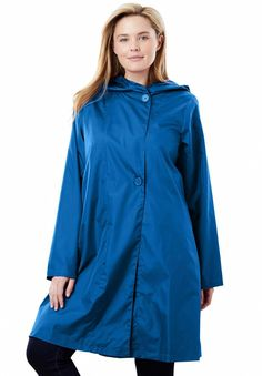 598c91504cf Packable water-resistant hooded raincoat with zip bag - Women s Plus Size  Clothing