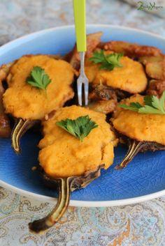Vegan Eggplant Boats: http://2brokevegans.com/eggplant-boats/