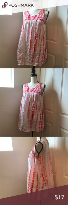 """Jodifl Tie-dye Tank Tunic Women's Large EUC Dress ⭐️️gorgeous top or sun dress Swim Cover -however you want to wear it  ⭐️️rayon  ⭐️️red pink white  ⭐️️gently worn  ⭐️️Approx Measurements:  Laying flat bust 18"""" length 30.5"""" 071317-18 🚫trades please jodifl Tops Tank Tops"""