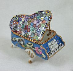 Porcelain French Limoges Box Grand Piano Murano Millefiori Venitian ArtGlass Top | eBay