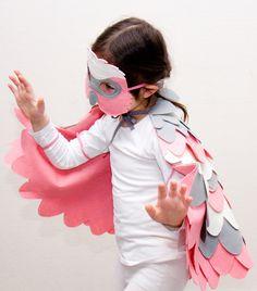 Pink Rose Parrot costume for kids. Little girls bird costume for Halloween or Carnival.