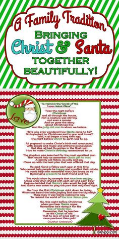 christmas traditions This is a beautiful way to bring Santa and Christ together. A must read and free printable to bring the real meaning of christmas and Santa together! Christmas Poems, Meaning Of Christmas, Christmas Party Games, Noel Christmas, Christmas Activities, Family Christmas, Christmas Printables, Winter Christmas, Holiday Fun
