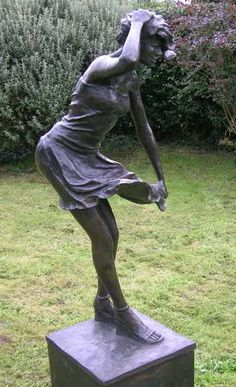 Bronze resin #sculpture by #sculptor Mitchell House titled: 'Girl in a Breeze (3/4 life size Bronze resin garden Yard statues)'. #MitchellHouse