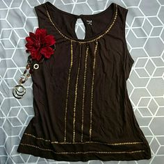 a.n.a. Sequinned Tank This tank is in excellent condition. Just the label is wearing off and there is a tiny hole by it as shown. No sequins are missing. Such a cute tank!! a.n.a Tops Tank Tops