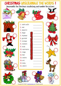 Christmas Unscramble The Words Esl Worksheets For Kids – Free Worksheets Samples Christmas Quiz, Fun Christmas Games, Christmas Carnival, English Christmas, Christmas Activities For Kids, 25 Days Of Christmas, Kids Christmas, Holiday Fun, Xmas