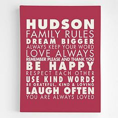 personalized family rules wall art from RedEnvelope.com