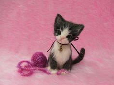 Needle Felted Cute Kitten with a yarn ball:  Miniature Wool Cat