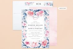 Monogrammed watercolor floral Foil-Pressed Wedding Invitations by Qing Ji,  minted, minted wedding invitations, minted invitations, wedding, wedding invitations, wedding invites, watercolor, watercolour, watercolor invitations, watercolour invitations, floral wedding invitations, floral wedding, botanical, botanical wedding, botanical wedding invitations,  garden wedding invitations, flowers, flower wedding invitations, watercolor floral invitations, pink, foil, foil pressed, gold, gold foil
