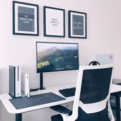 Home Office Designs - Home offices are now a norm to modern homes. Here are some brilliant home office design ideas to help you get started. Computer Desk Setup, Gaming Room Setup, Pc Setup, White Desk Setup, Bureau Design, Workspace Design, Bedroom Workspace, Home Design, Home Office Design