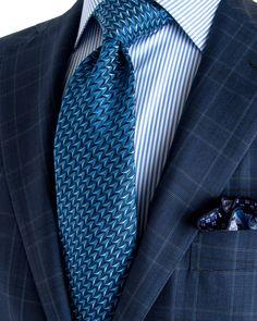 Belvest | Navy Plaid Suit | Apparel | Men's Best Dressed Man, Sharp Dressed Man, Tie And Pocket Square, Pocket Squares, Plaid Suit, Elegant Man, Men's Wardrobe, Dress For Success, Suit And Tie