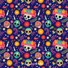 Skulls with floral hats seamless pattern Free Vector Cute Wallpaper Backgrounds, Disney Wallpaper, Cartoon Wallpaper, Abstract Backgrounds, Cute Wallpapers, Colorful Backgrounds, Vintage Backgrounds, Girl Face Painting, Skull Painting