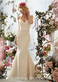 An affordable lace wedding dress from Mori Lee.