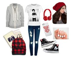 School by lovepeace97 on Polyvore featuring NSF, Current/Elliott, ASOS, Beats by Dr. Dre, Sugar Paper, Converse, school, harrystyles and beats