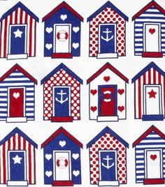 Beach Huts                                                       … Embroidery Patterns, Machine Embroidery, Deco Marine, Beach Huts, House Quilts, Am Meer, Beach Crafts, Coastal Style, Nautical Theme