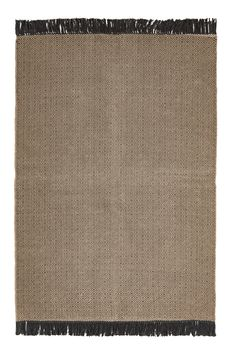 Large rug in a jacquard-weave jute and cotton blend with fringes on the short sides.