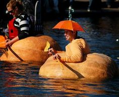 Carve the pumpkin into a boat, climb in, and have a pumpkin boat race!