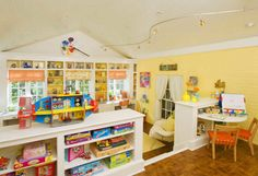 Modern Gorgeous And Clever Kids Playroom Design Ideas On Home Decorating With Creative Interior Craft Room Design Ideas With Storage Shelves Kids Playroom Design, Playroom Ideas, Playroom Storage, Daycare Design, Attic Playroom, Daycare Ideas, Nursery Ideas, Daycare Nursery, Playroom Paint