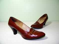 50s Cognac Autumnal Buckle Lord & Taylor Fifth Avenue Heels