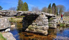 Clapper Bridge at Postbridge on Dartmoor one of many such bridges on Dartmoor