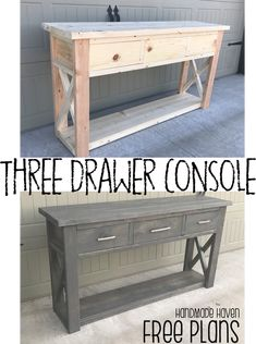 Builds up to 16000 Carpentry Projects - Free Woodworking Plans - Step by step guide on how to build this Three Drawer Console - Handmade Haven Builds up to 16000 Carpentry Projects - Get A Lifetime Of Project Ideas and Inspiration! Furniture Plans, Furniture Diy, Furniture Projects, Wood Diy, Popular Woodworking, Diy Furniture Plans, Woodworking, Woodworking Plans Free, Diy Woodworking