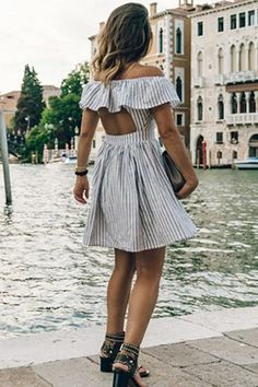 Backless Stripe Off The Shoulder Mini Dreses Ruffle Dress, Striped Dress, Strapless Dress, Ruffles, Summer Dresses 2017, Casual Summer Dresses, Cheap Dresses, Short Dresses, Mini Dresses