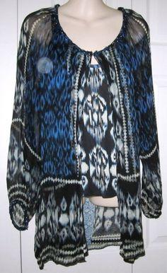 Alberto Makali 2 Pc M Top Blouse Semi Sheer Peacock Animal Print BOHO Blue Black #AlbertoMakali #TanktopwithBlousySheerJacket #CareerCasual