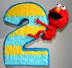 Number 2 Elmo Pinata Handmade Baby by PoppinPinatasandmore on Etsy