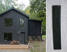 For the exterior of the house, we think Behr's Semi-Transparent Weatherproofing Stain in Slate is a good match.