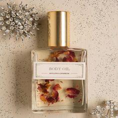 Mullein & Sparrow Rose Blossom Body Oil #vegangifts #vegangiftsforher #veganbathbody #lavenderfields