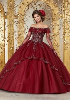 Long Sleeve Quinceanera Dresses, Mexican Quinceanera Dresses, Mexican Dresses, Burgundy Quinceanera Dresses, Tulle Ball Gown, Ball Gown Dresses, Gown Skirt, Satin Tulle, Tulle Fabric