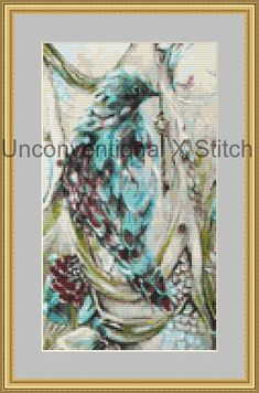 Blue bird cross stitch pattern - modern counted cross stitch - To Grasp Beyond Reach Extract - Licensed Angela AK Westerman by UnconventionalX on Etsy