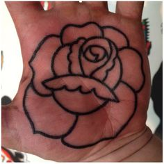 Rose palm of hand tattoo via jasonscott523 instagram