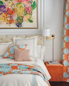 Orange Home Decor, Comfy Bedroom, Orange House, Studio Apartment Decorating, Interior Accessories, Bed Sheets, Home Furnishings, New Homes, House Design