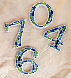 Mosaic House Numbers. $20.00, via Etsy.