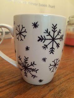 DIY sharpie snowflake coffee mug
