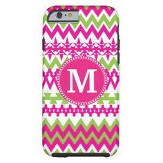 Monogram Hot Pink Tribal Chevron iPhone 6 Case