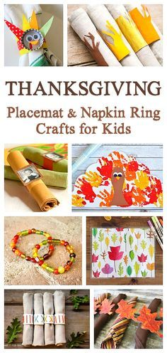 Thanksgiving Crafts for Kids: Thanksgiving Placemat Crafts and Thanksgiving Napkin Ring Crafts- a great way for children to help prepare and take part in the upcoming holiday celebrations. Thanksgiving Placemats, Free Thanksgiving Printables, Thanksgiving Activities For Kids, Thanksgiving Crafts For Kids, Holiday Crafts, Thanksgiving Feast, Thanksgiving Decorations, Holiday Centerpieces, Autumn Crafts