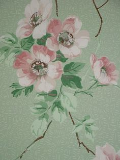 Babylon Sisters: Vintage Wallpaper Ideas  This reminds me of the paper in Grandma's bedroom but hers was grey background with dogwood