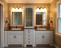 Bathroom. White Wooden Small Double Sink Vanity With Brown Top And Double White Sink Combined By Glass Shelves And Double Mirror Also Wall Lam In Grey Bathroom. Wonderful Design Of Small Double Sink Vanity As Inspiration To Decorate Your Bathroom